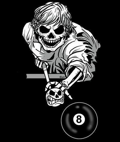 8 Ball Skeleton Pool Player Cue Stick Skull T Shirt 147 Ebay