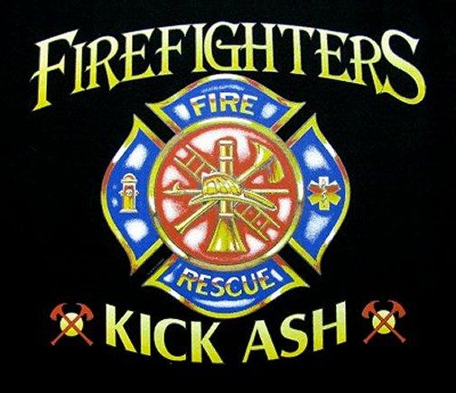 Firemen fire fighter kick ash shield t shirt ws119 for Kicks on fire t shirt