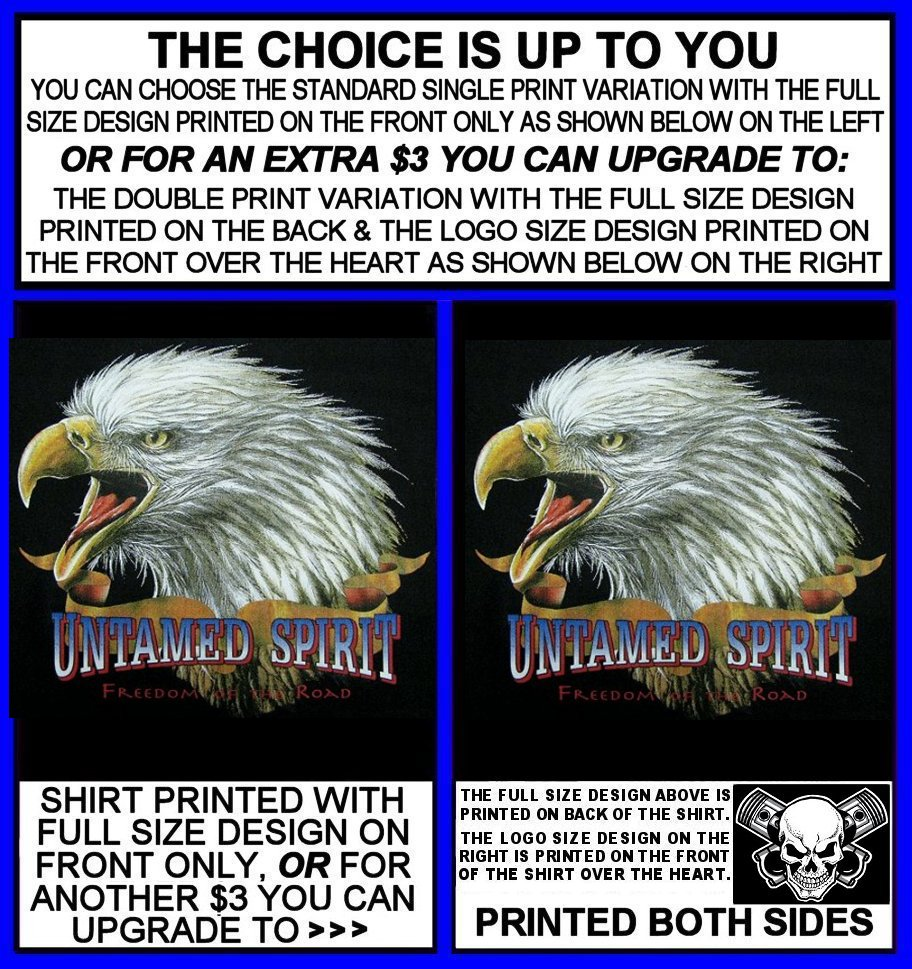 UNTAMED SPIRIT FREEDOM OF THE ROAD PATRIOTIC EAGLE AMERICAN BIKER T-SHIRT WS517
